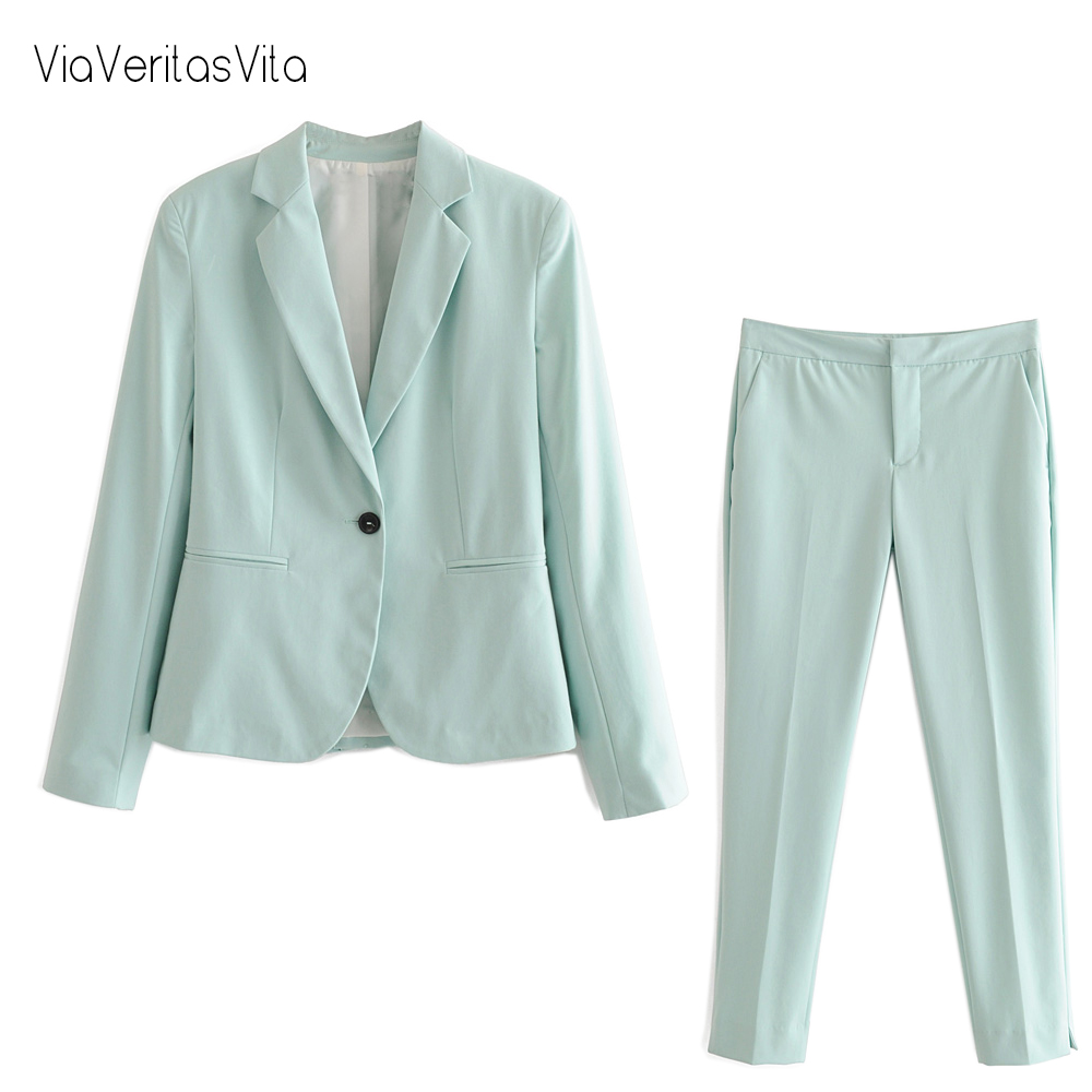 New Sea Green Womens Blazer Pant Sets Long Sleeve Suit Blazer Casual Jacket Coat Solid Mid Waist Pant Trousers Zora Lilac Capris