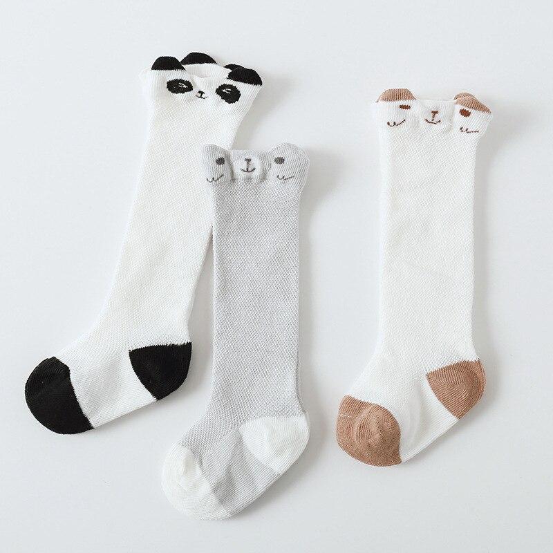 Купить с кэшбэком 3 Pair Newborn Infant Non-slip Long Socks Toddler Girl Knee High Socks Cute Baby Boys Girls Cotton Mesh Breathable Soft Socks
