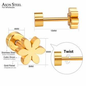 Серьги-пусеты ASONSTEEL, модные серьги из нержавеющей стали золотого цвета для женщин/девушек, аксессуары