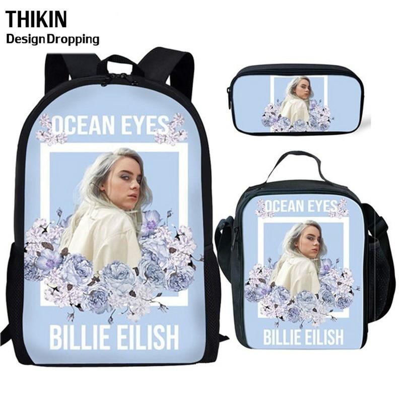 THIKIN New 3Pcs/Set Billie Eilish School Bags For Teenager Boys Girls Hip Hop Children School Backpack Rapper Women Casual Bag