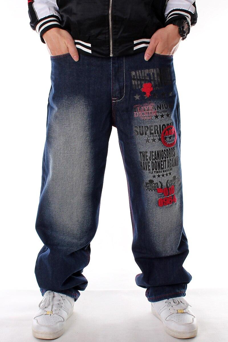 Men's Fashion Brand Plus Size Fat Denim Pants Male Hip Hop Warsh Street Dance Embroidered Costume Pants Skateboard Long Trousers