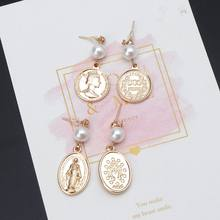 Egyptian Avatar Coin Queen Head Charm Virgin Mary Pearl Dangle Earring For Women DXAA(China)