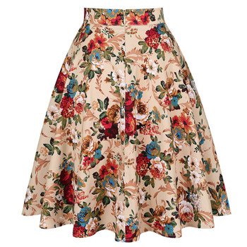 2020 Elegant Women Pleated Office Midi Skirts Aline Steampunk Gothic Female 50s 60s A line Ladies Skirt High Waist fashion skirt 2