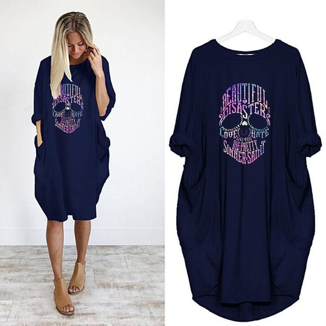 Women Loose Dresses Long Sleeve Dress Plus Size Harajuku Skull Print Casual Robes Femme Vintage o Neck Pocket Party Vestidos 3