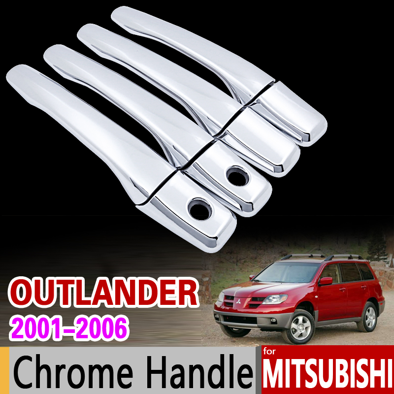 For Mitsubishi Outlander Airtrek 2001 - 2006 Chrome Handle Cover Trim Set 2002 2003 2004 2005 Accessories Stickers Car Styling