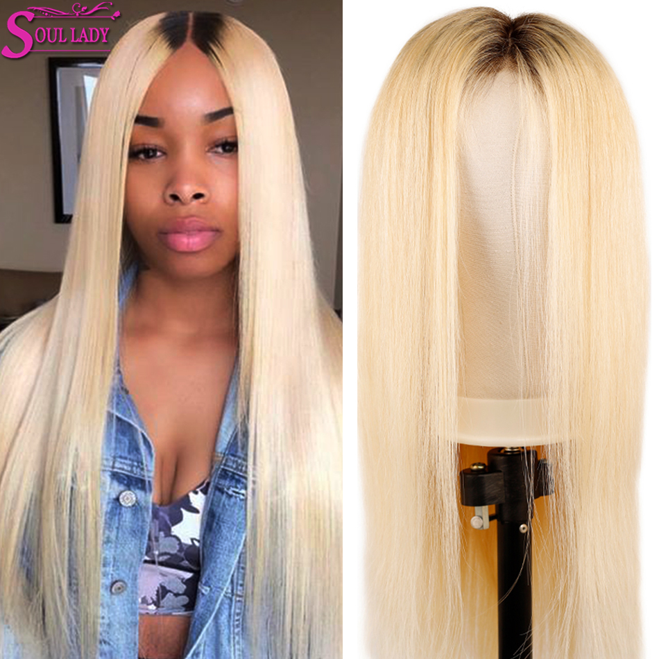 Soul Lady 1b 613 Lace Front Wig Platinum Blonde Lace Front Wigs With Dark Roots 150% 13X4 Malaysian Remy Straight Human Hair Wig image