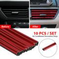 10x авто аксессуары красный на выходе автомобильного кондиционера, полоска для автомобильной двери Универсальный Автомобильный интерьер ст...