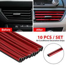 10x carro acessórios de automóvel vermelho ar condicionado tomada decoração tira universal estilo interior decorações produtos