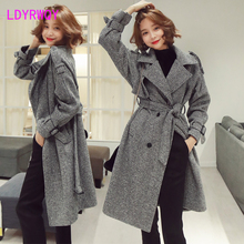 2019 autumn and winter new Korean version of the woolen houndstooth long section slim slimming fashion temperament coat jacket 2017 pregnant women winter women korean version of the coat long woolen jacket