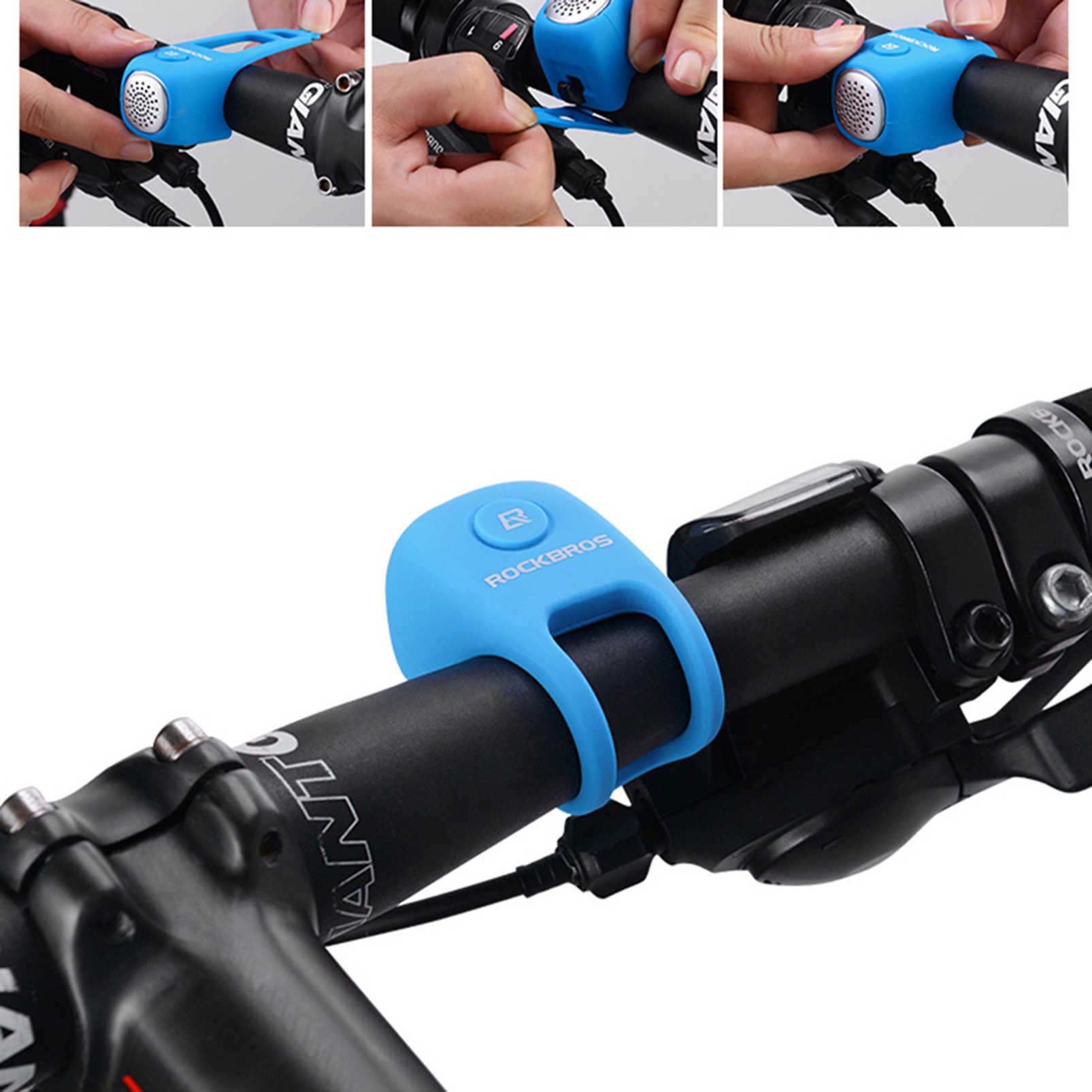 ROCKBROS Electric Cycling Bells Horn Rainproof MTB Bicycle Handlebar Bell Silica gel Shell Ring Saving Bell Bicycle Accessory