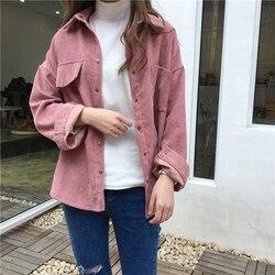 Sztruks bluzka kobiety moda z długim rękawem Preppy szeroki pas skręcić w dół kołnierz Crop kurtka damska Harajuku dorywczo kieszeń kurtka 4
