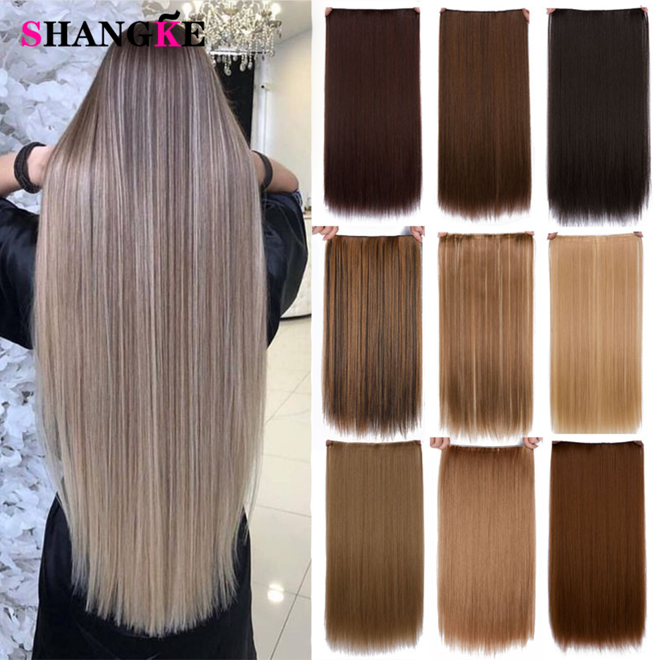 SHANGKE 24'' Long Straight Women Ombre Clip In Halo Hair Extensions Clip Black Brown High Tempreture Synthetic Pink Hair