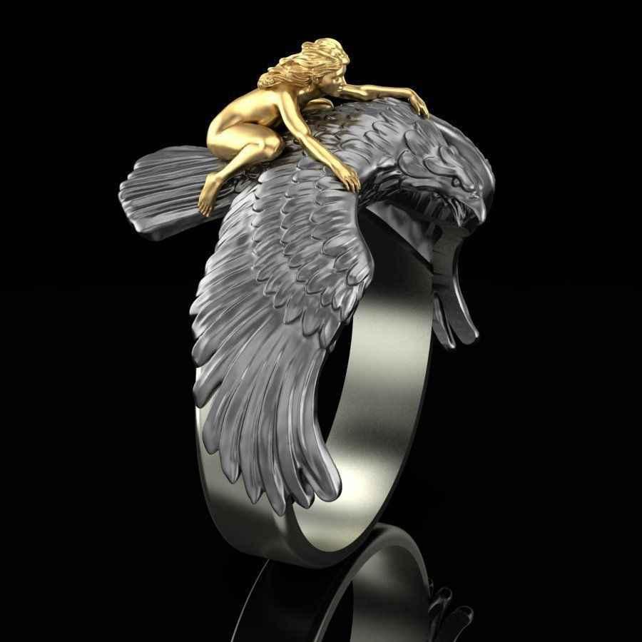 ทองบินสาวบนEagleสัตว์แหวนผู้ชายVINTAGEสีดำPunk BIKERปีกEagleแหวนสะโพก-Hopเครื่องประดับBague Homme