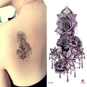 Красота 1 шт Макияж Поддельные Временные татуировки наклейки розы цветы татуировка на руку, плечо Водонепроницаемая женская большая вспышк...