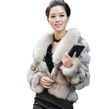 Luxury Genuine Real Fox Fur Jackets&Coats With Collar For Ladies Short Outerwear In Garments