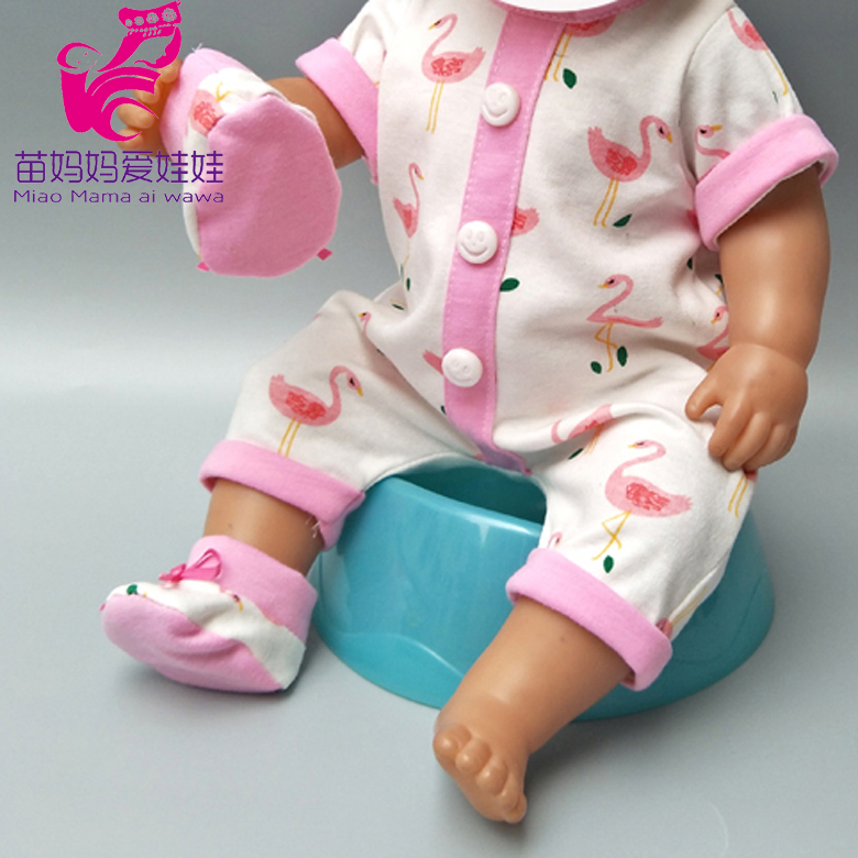Doll Clothes For 43cm Baby Doll Coat Cute Hat Flamingo Rompers For 17