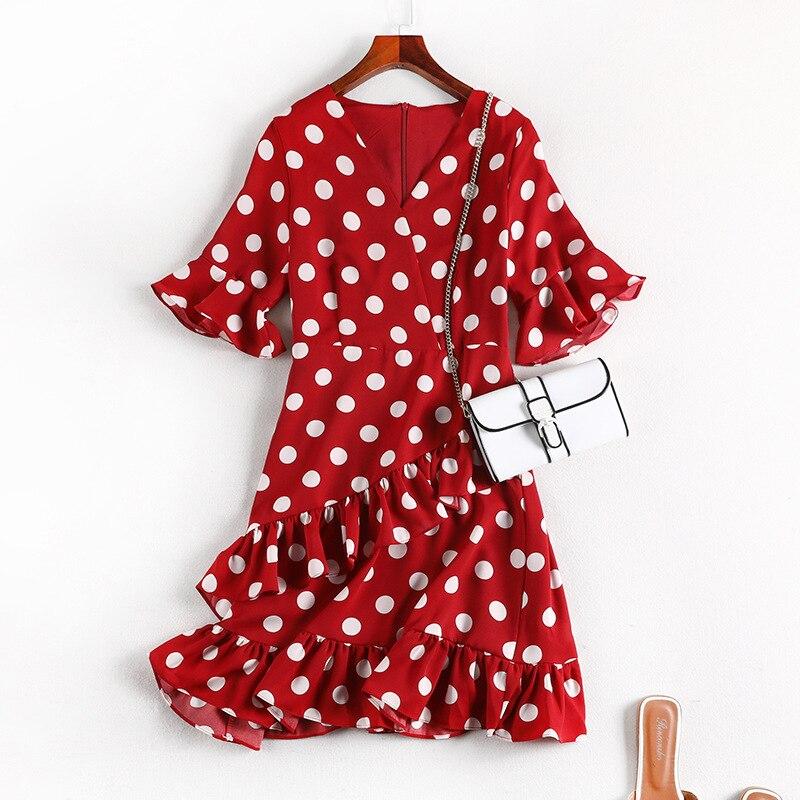 Large Size French Fu Gu Qun Summer Wear 2019 New Style WOMEN'S Dress Slimming Belly Covering Dress Micro Polka Dot Dress 10446