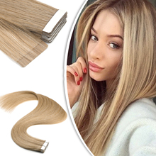 Extensions-Machine Hair Tape-In Skin Weft Adhesives Remy Natural Invisible Straight MW