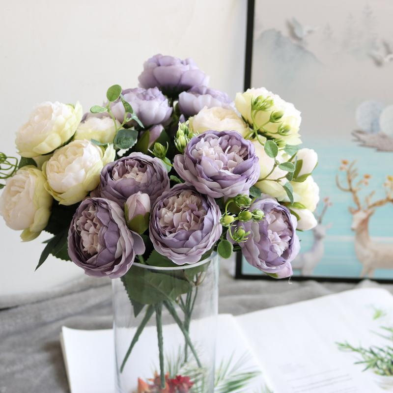 9 голов Искусственный Пион Чай Роза Цветы Букет Камелия Шелковый Искусственный цветок Флорес для DIY украшения дома сада свадьбы