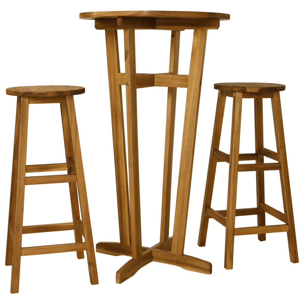 Conjunto de mesa de madera moderna para comedor VidaXL Acacia mesa y sillas  de madera maciza Juego de 3 piezas muebles de Bar muebles de lujo