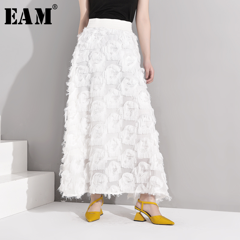 [EAM] High Waist Tassels Split Perspective Long Temperament Half-body Skirt Women Fashion Tide New Spring Autumn 2020 YC23701S