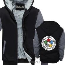 Nuovo IJF International Judo Federation Logo degli uomini di inverno con cappuccio di spessore con cappuccio inverno Straight jacket sbz4597