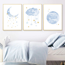 Nursery Canvas Posters Cartoon Print Painting Blue Moon Stars Clouds And Prints Wall Pictures For Kids Bedroom Decor