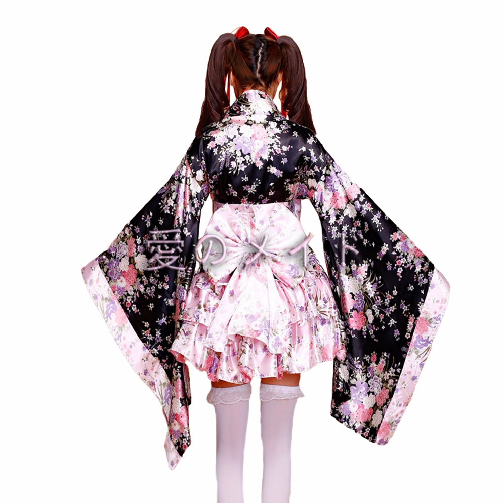Cosplay Costumemaid Anime Halloween Fancy Dress Woman Japanese Kimono Sakura Print Lolita Pink Short Sexy Layered Skirt