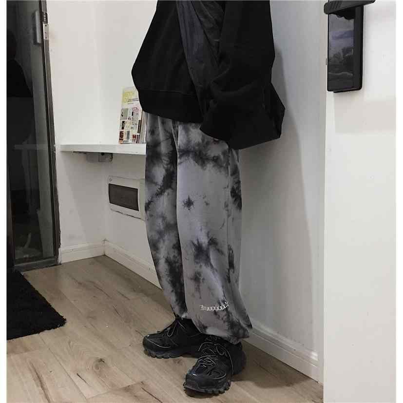 NiceMix Ikat Pinggang Elastis Longgar Harem Bordir Tie Dye Kontras CELANA Jogger Wanita Pria Streetwear Korea Harajuku Punk Hip Hop