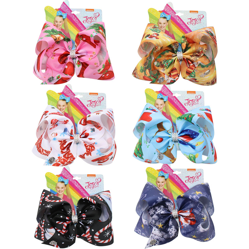 7'' Jojo Siwa Bows Christmas Printed Large Hair Bows For Girls Rhinestone Knotted Ribbon Bows Hairgrips Party Kids Headwear