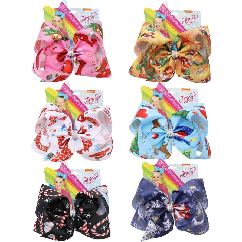 7'' Jojo Siwa Bows Christmas Printed Large Hair Bows For Girls Rhinestone Knotted Ribbon Bows Hairgrips Party Kids Headwear