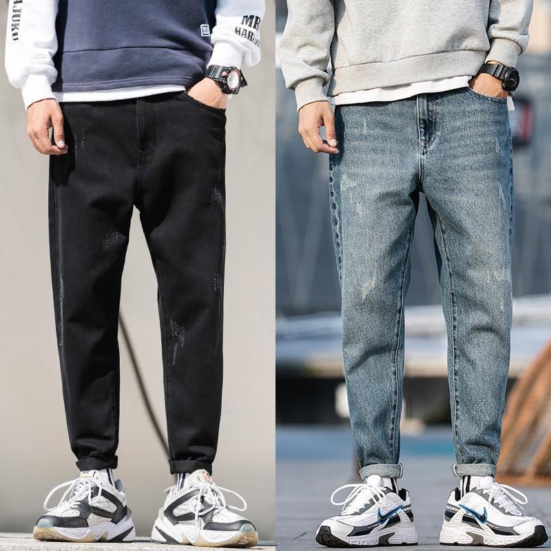 Newly Autumn Fashion Men Jeans Loose Fit Retro Wash Harem Pants Japanese Vintage Tapered Jeans Men Pencil Pants Big Size 28-42