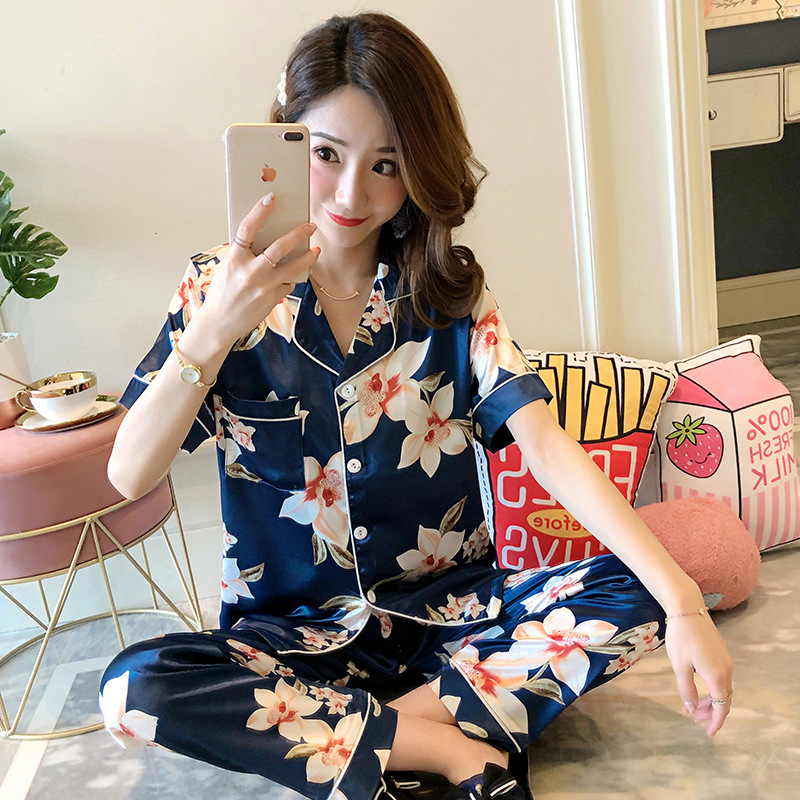 Liang Xing-Summer Short-sleeved Trousers Viscose WOMEN'S Pajamas Comfortable Breathable Sweet Home Wear