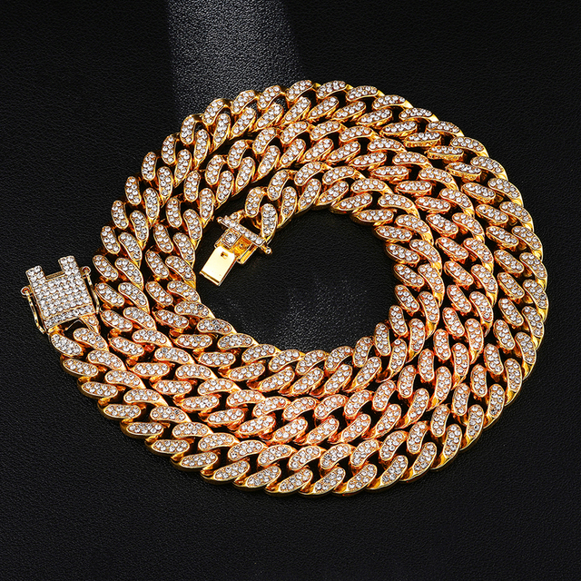 Iced Out Paved Rhinestones 1Set 13MM Gold Gold Full Miami Curb Cuban Chain CZ Bling Rapper Necklaces For Men Hip Hop Jewelry