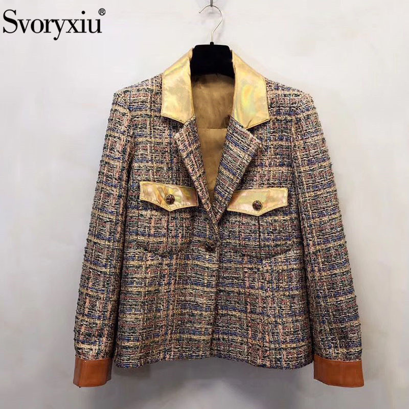 Svoryxiu Designer High-End Custom Autumn Winter Blazers Coat Women's Tweed Braided Silk Lining Jackets Outwear