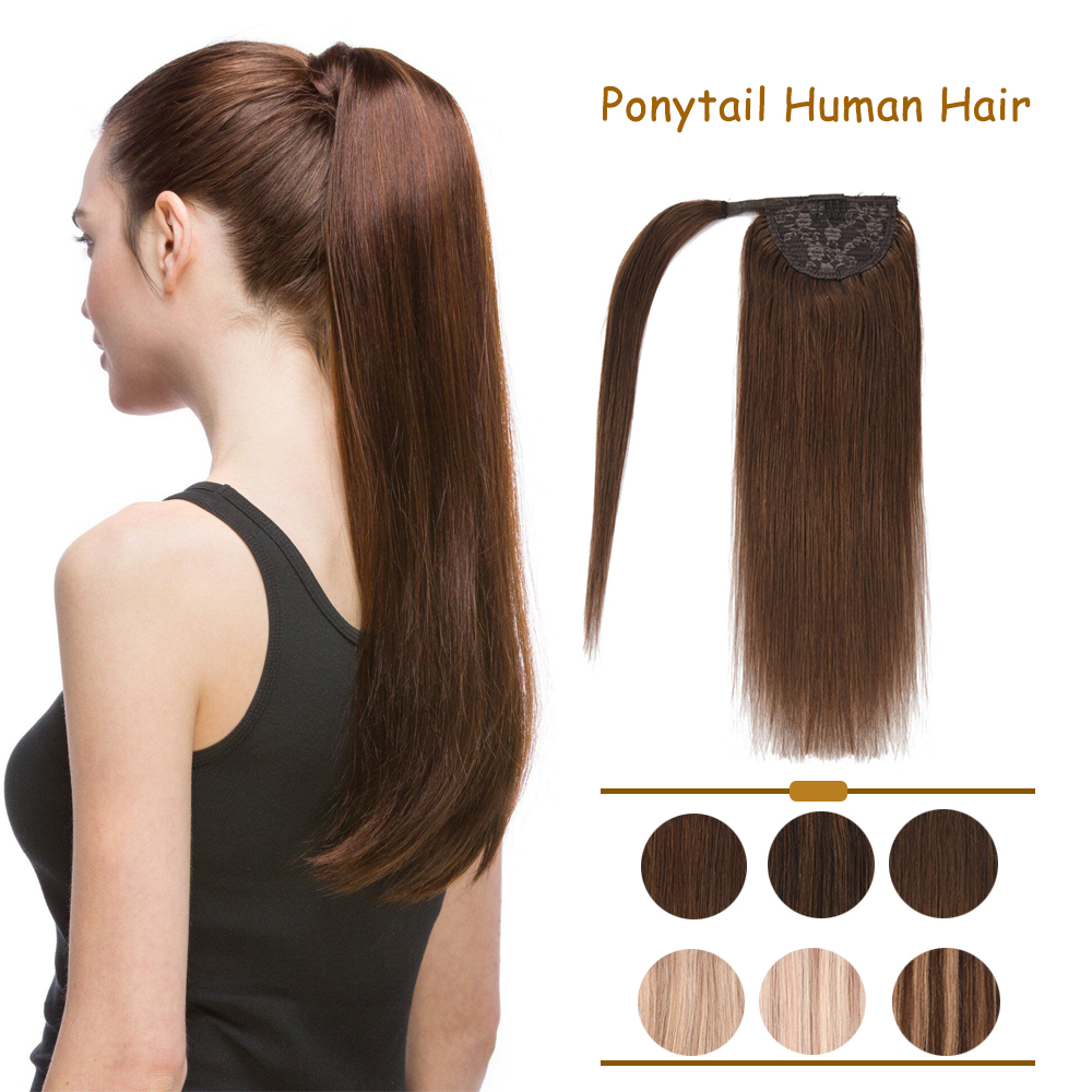ZURIA Ponytail Human Hair Extensions Machine-Remy Brazilian Hair Extensions Clip Ins 12
