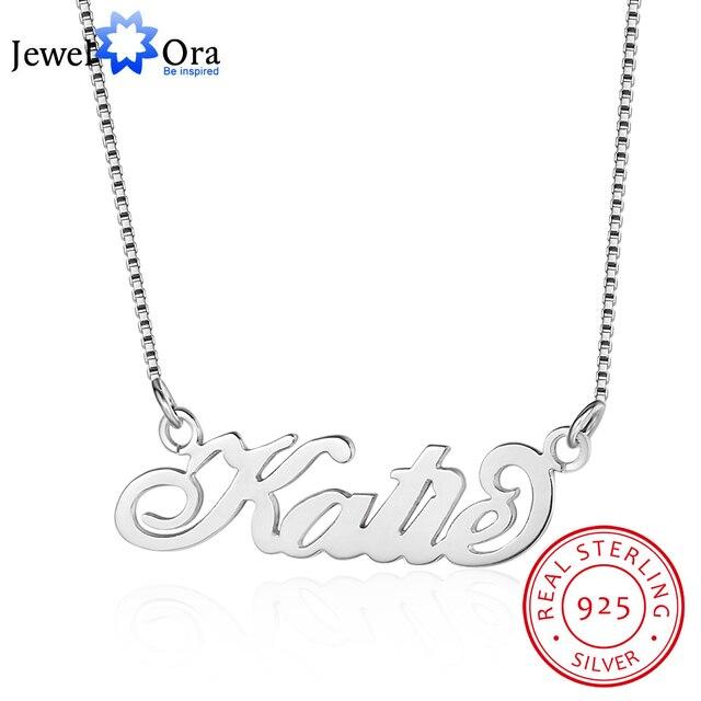 JewelOra collar de placa con nombre personalizada para mujer, joyería fina, nombre de Plata de Ley 925, regalo de aniversario