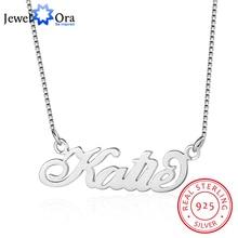 Jewelora jóias finas personalizado 925 prata esterlina nome colar personalizado placa de identificação presente aniversário para as mulheres