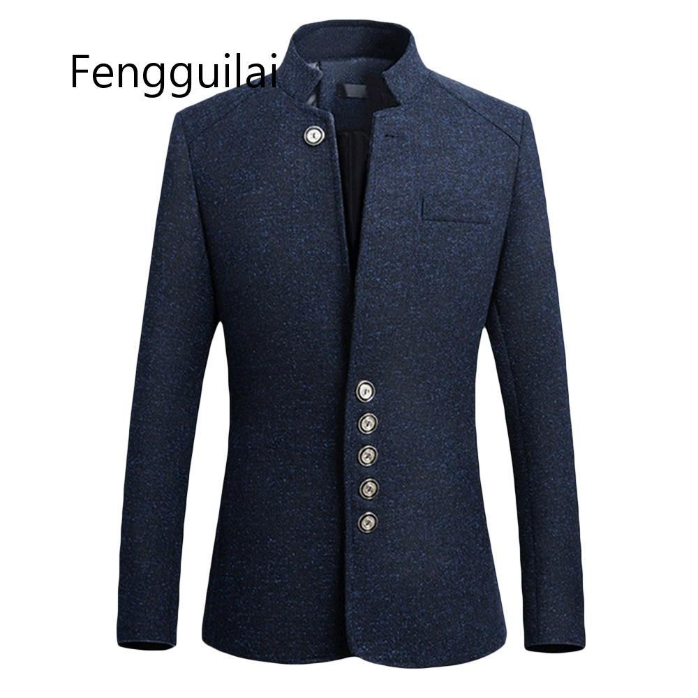 2020 New Men Suit Jacket Solid Mandarin Collar Slim Fit Tuxedo Men Blazer Jacket Autumn Winter Casual Blazer Men Coat Plus Size
