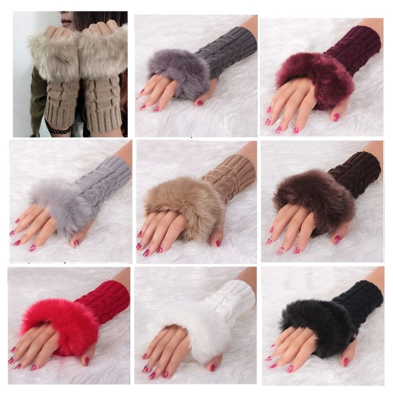 Hot Women Faux Rabbit Fur Hand Wrist Winter Warmer Fingerless Long Mitten Gloves