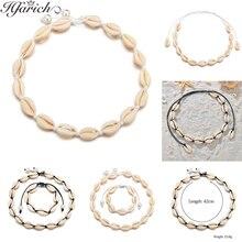 Hfarich Boho Colorful Rope Chain Seashell Necklace Woman Ocean Beach Sea Shells Choker Natural Shell Women Gifts