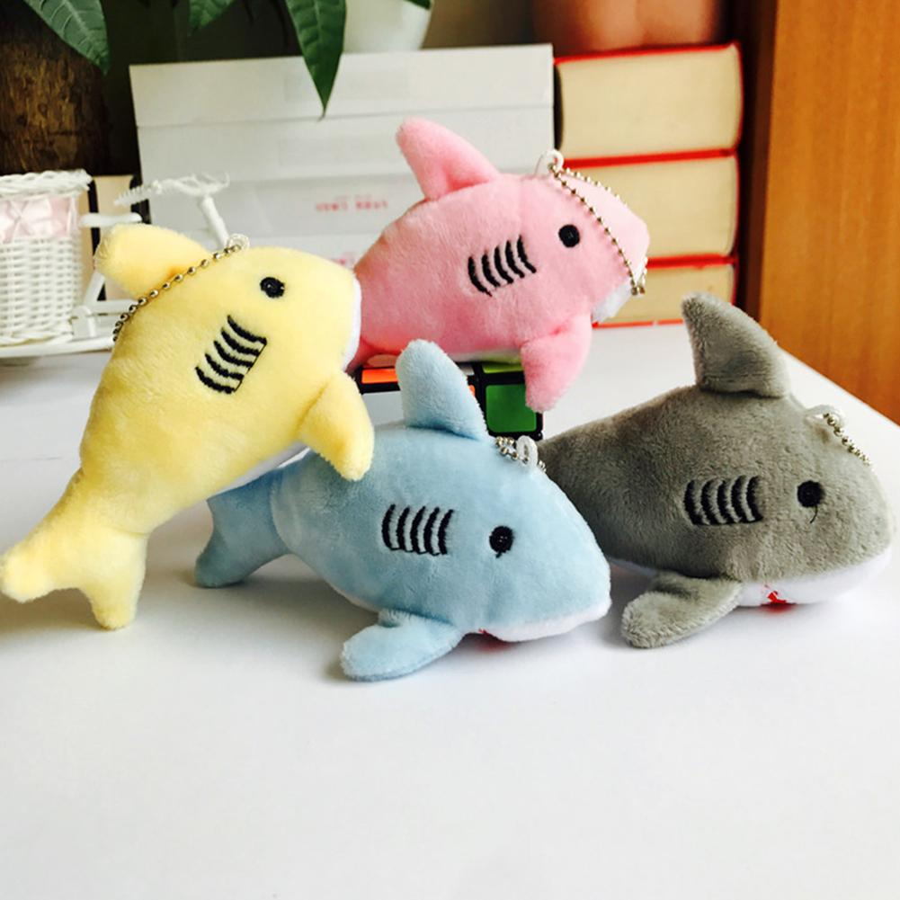 1Pcs 12cm Cute Cartoon Shark <font><b>Plush</b></font> Stuffed Hanging Doll Kids <font><b>Toys</b></font> <font><b>Key</b></font> <font><b>Chain</b></font> Pendant Bag Decor Gift Children <font><b>Toys</b></font> Small Gifts image