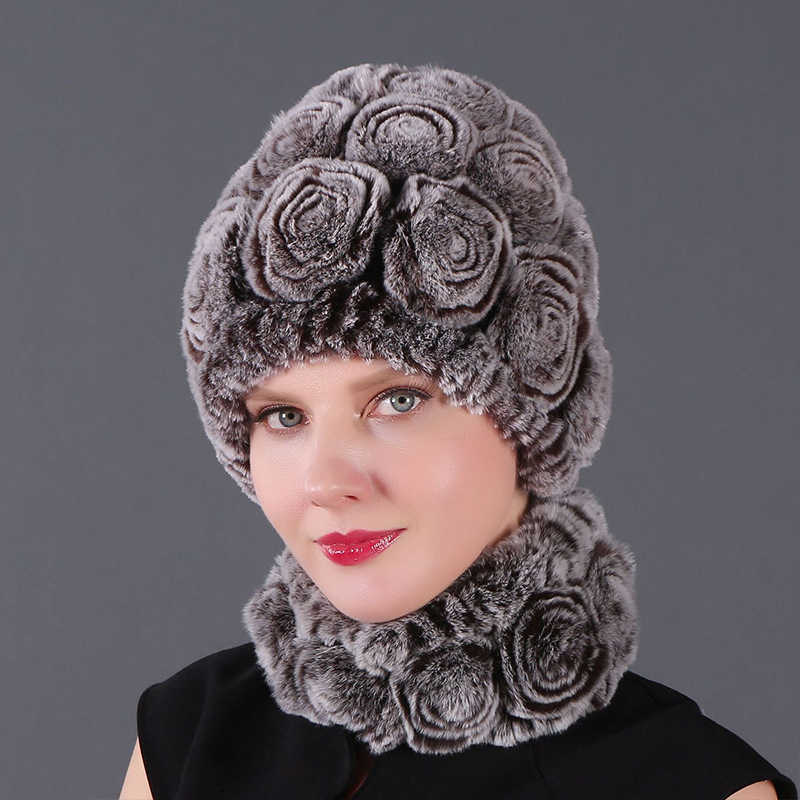 Chapéu feminino inverno do falso pele de coelho chapéus florais crânios sólidos beanies mão tricô feminino neve capshat para presentes de natal menina