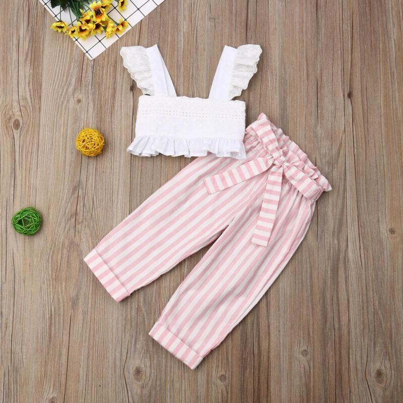 1-6T Toddler Kid Baby Girl Clothes Set Ruffles Lace Top Cropt Top Striped Pants Elegant Cute Lovely Sweet Fashion Outfits