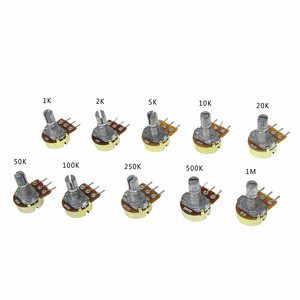 5 шт./лот WH148 B1K 2K 5K 10K 20K 50K 100K 250K 500K 1 м ом 15 мм 3 штифта линейный подшипник с коническим поворотный потенциометр резистор с крышкой
