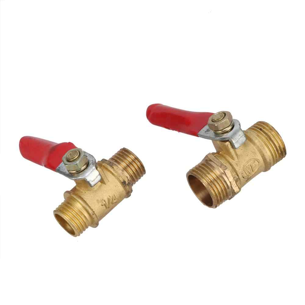 "1//2/"" BSP Male to 8mm Hose Barb Brass Ball Valve Pipe Fitting Red Lever Handle"