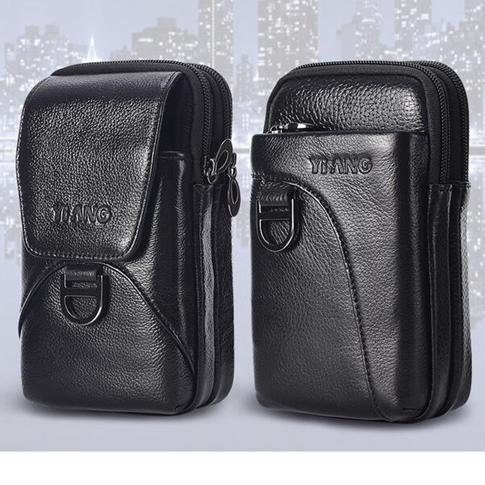 Men's Waist Bag Genuine Leather Fashion Cell Mobile Phone Case  Bag Fashion Men Belt Hook Pack Fanny  Pouch