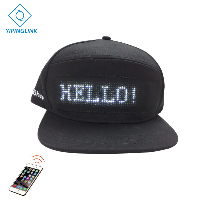 Bluetooth Led Hat With 12*48 Bigger Size Led Display Baseball Cap Hip Hop Golf Hat Night Fishing Hunting  Led Light Riding Hat
