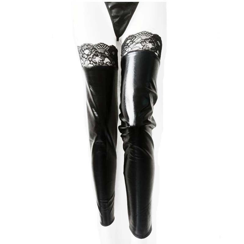 Hirigin Winter Sexy Women Leather Elastic Lace Long Stockings Party Tight Hosiery Gloves Fancy Ladies Special Use Exotic New