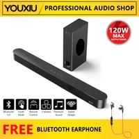 Barra de sonido con Bluetooth para cine en casa, Subwoofer de 120W para TV, sonido estéreo envolvente 3D de graves